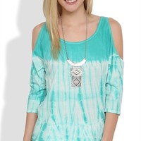 Cold Shoulder Tie Dye High Low Top with Three Quarter Length Sleeves