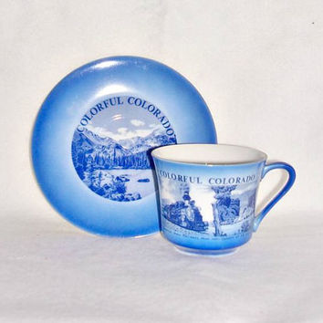 Vintage Colorful Colorado Souvenir Blue White Tea Cup Saucer Set Home Decor Collectibles Souvenir