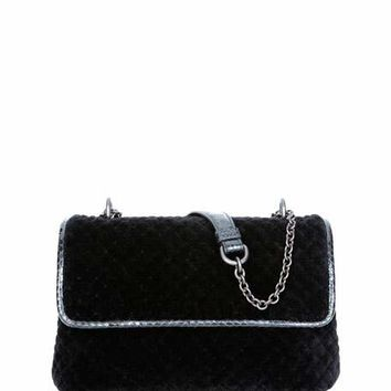 Bottega Veneta Olimpia Intrecciato Quilted Velvet Shoulder Bag, Black