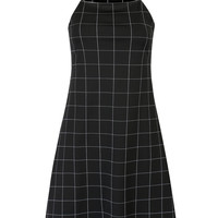 Black Check Print Cami A-line Dress