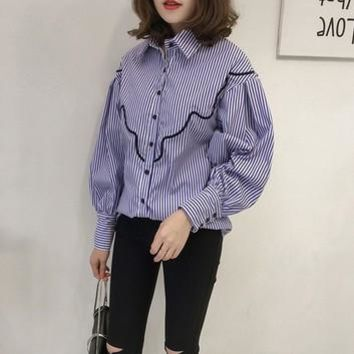 Autumn Shirts Women Turn-Down Long Sleeve Design Embroidery Button Blouses Lady Fashion Loose Tops