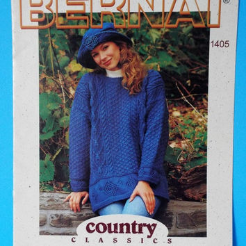 Bernat Country Classics Knitting Pattern Aran Cable Knit Pullover Irish Sweater Men Women No 1405 Destash