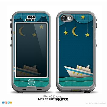 The Layered Paper Night Ship with Gold Stars Skin for the iPhone 5c nüüd LifeProof Case