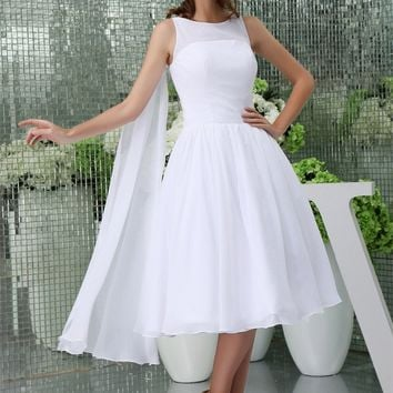 Chiffon A Line High neck Sleeveless Tea Length Bridesmaid Dresses Wedding party dresses robe de soiree