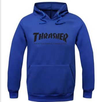 ThrasherMen and women with the flame hooded couples sweater black letters Blue