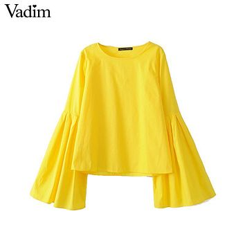 Vadim women stylish flare sleeve pleated yellow blouses sweet o neck solid shirts ladies casual brand tops blusas LT1811