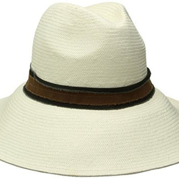 'ale by alessandra Women's Grosvenor Fine Panama Hat With Two-tone Canvas Trim