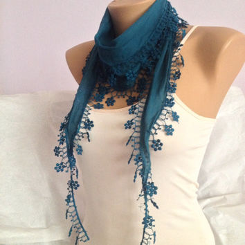 Teal Scarf -  Green  Lace Scarf -  Floral Lace Scarf - Green Neckwrap