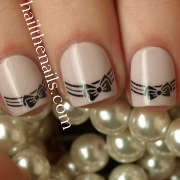 Bow Tip Nail Art Water Transfer Decal