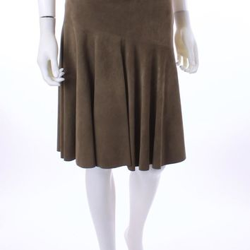 RALPH LAUREN COLLECTION PURPLE LABEL OLIVE GREEN REINDEER SUEDE SKIRT SIZE 12