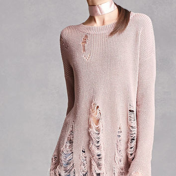 Open-Knit Distressed Sweater