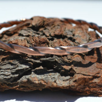 Twisted Copper Bangle, Copper Bracelet, Copper Jewelry, Stacking Bangle, Unisex Jewelry, Soldered Jewelry, Patina Copper, Hand Polished