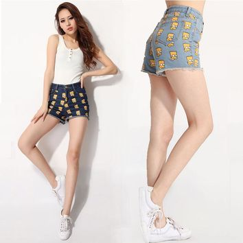 Women Brand denims Shorts Fashion Casual Simpson head printed jeans short Summer HOT High Waist Girls Short Feminino S/M/L