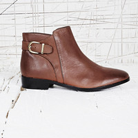 Saint Vintage Buckle Ankle Boots in Brown - Urban Outfitters