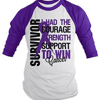 Shirts By Sarah Men's Cancer Survivor Shirt 3/4 Sleeve Raglan Shirts Purple Ribbon