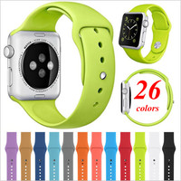 26 Colors 4 Sizes Silicone Replacement Smart Watch Strap Sport Band for Apple Watch AW2SS