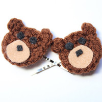 Bear hair pins. Crochet bobby pins. Brown bear hair accessory.