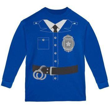 PEAPGQ9 Halloween Policeman Costume Youth Long Sleeve T Shirt