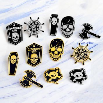 Miss Zoe Punk Skeleton Pirate Nautical Compass Ax Skull Coffin Enamel Pin Badge Brooch Women's Men Shirt Denim Jacket Pins