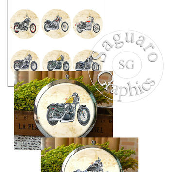 Variety of Harley Motorcycles Graphic & Glow Altered Art - Digital Collage Sheets - 2.25 inch Circles for Mirrors, Wedding Projects, Crafts