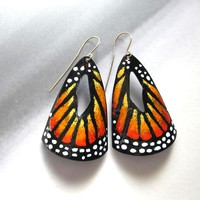 Big Monarch Butterfly Earrings in Orange Enamel - Statement Jewelry