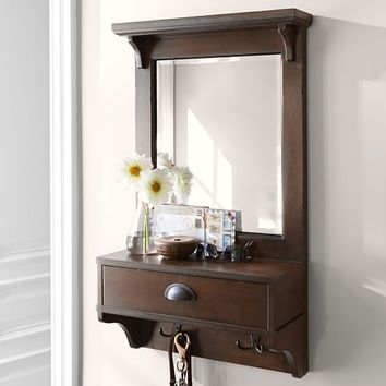 Wall-Mount Entryway Organizer Mirror - Small