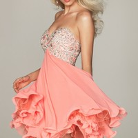 Chiffon Sweetheart Bodice Dress by NightMoves by Allure