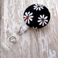 Black and White Daisy Flower ID Badge Reel by JeJeweled on Etsy
