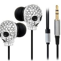 Crystal Decorated Skull Pattern Stereo In-Ear Headphone (Silver)