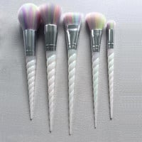 Unicorn Thread 5pcs Makeup Brushes Set rainbow hair Cosmetic Foundation Eyshadow Blusher Powder Blending Brush beauty tools kits