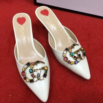 Gucci Women High Heel Sandals Soles Heart Pointed shoes B-ALS-XZ White
