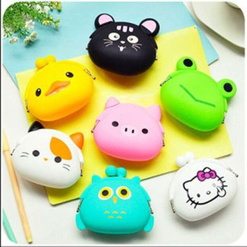 DCCKL72 New Fashion Lovely Kawaii Candy Color Cartoon Animal Women Girls Wallet Multicolor Jelly Silicone Coin Bag Purse Kid Gift