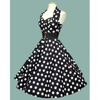 Vintage 50's Dress, Black With Big White Dots,Sateen