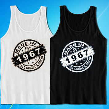 Made In 1967 All Original Parts Vintage Look Stamp 47th Birthday Gift Present tank top for mens and womens