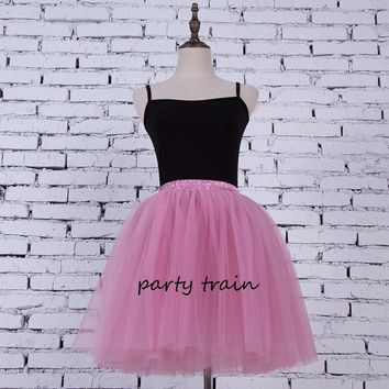 7 Layers Midi Tulle Skirt for Girls American Apparel Tutu Skirts Women Ball Gown Party Petticoat Lolita faldas saia jupe