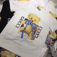 """Gucci"" Women Casual Fashion Cute Cartoon Bear Cub Letter Pattern Print Short Sleeve T-shirt Top Tee"