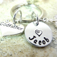 God father Gift Godfather keychain Personalized Godfather Keyring Hand stamped custom keyring