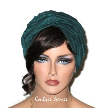 Handmade Teal Green Twist Turban, Crinkled Rayon