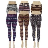 Juniors Fair Isle Nordic Tribal Pattern Print Leggings (Regular & Plus Sizes)