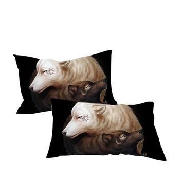 Yin and Yang Wolves Black by JoJoesArt Pillowcase Home Textiles  Wolf Bedding  Microfiber Tai Chi Pillow Cover 2pcs