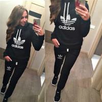 """Adidas"" Fashion Casual Letter Print Hooded Long Sleeve Set Two-Piece Sportswear"