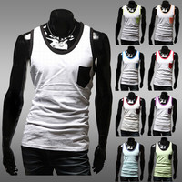 Contrast Trim and Pocket Tank Top