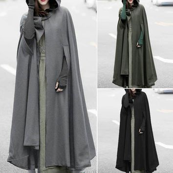 ZANZEA Cosplay Parka Coat  Women Hoodies Casual Hooded Vintage Cloak Cape Jacket