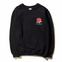 RIPNDIP Red Rose Black Crew Neck Sweatshirt