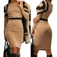 Brown Square Print Long Sleeve Bodycon Midi Dress