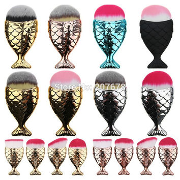 Mermaid Makeup Brushes Powder Blush Foundation Cosmetic Tools Fish Brush Contour BB Cream Make up Brushes