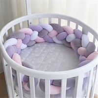 300CM Newborn Baby Bed Bumper Four Ply Handmade Long Knotted Braid Weaving Baby Crib Protector Room Decor Infant Pillow ZT06