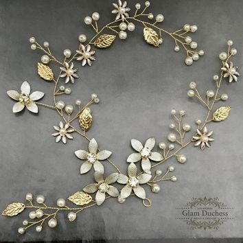 Bridal Grecian Headband Gold Bridal Leaf Hair Vine