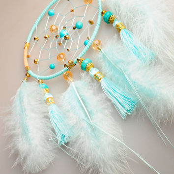 Dreamcatcher turquoise Dream Catcher Large Dreamcatcher Dream сatcher gift dreamcatcher turquoise boho dreamcatcher wall handmade gift idea