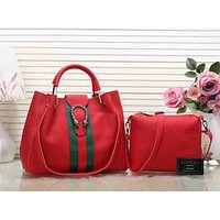 Perfect Gucci Women Shopping Leather Tote Handbag Satchel Crossbody Set Two-Piece